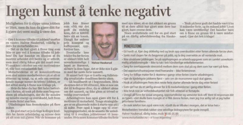 """Presseklipp: """"Ingen kunst å tenke negativt"""" - Faksimile fra Aftenposten 05.08.2007"""