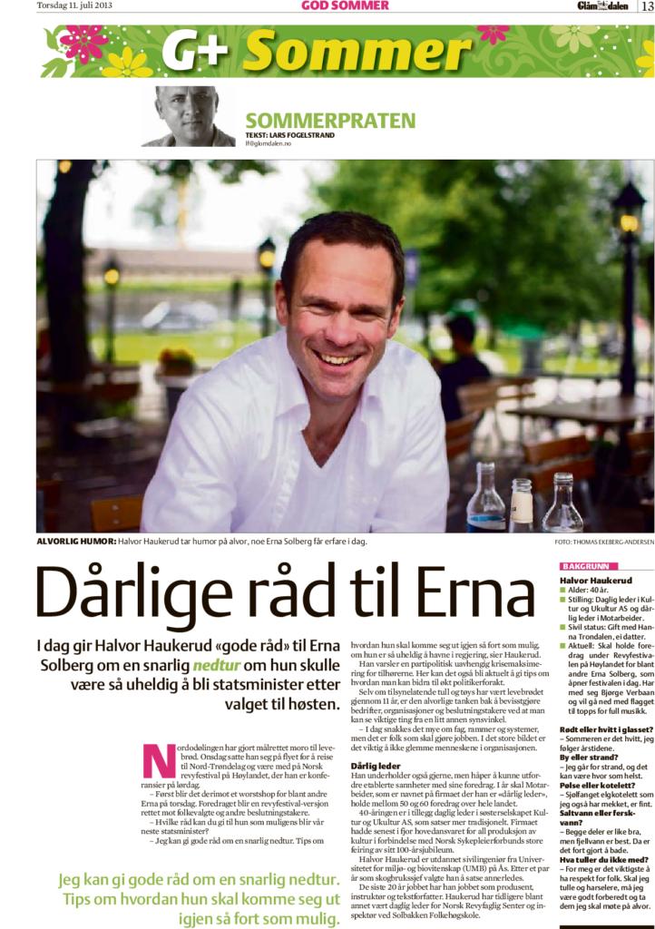 """Presseklipp: """"Dårlige råd til Erna"""" - Faksimile fra Glåmdalen 11.07.2013"""