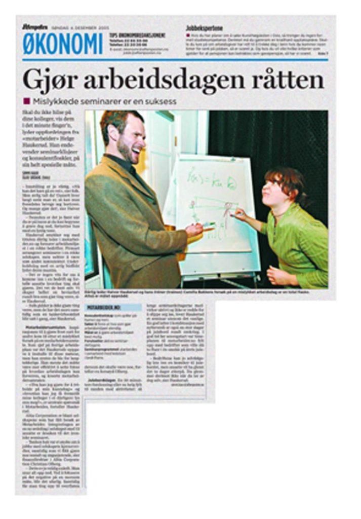 """Presseklipp: """"Gjør arbeidsdagen råtten"""" - Faksimile fra Aftenposten 04.12.2005"""