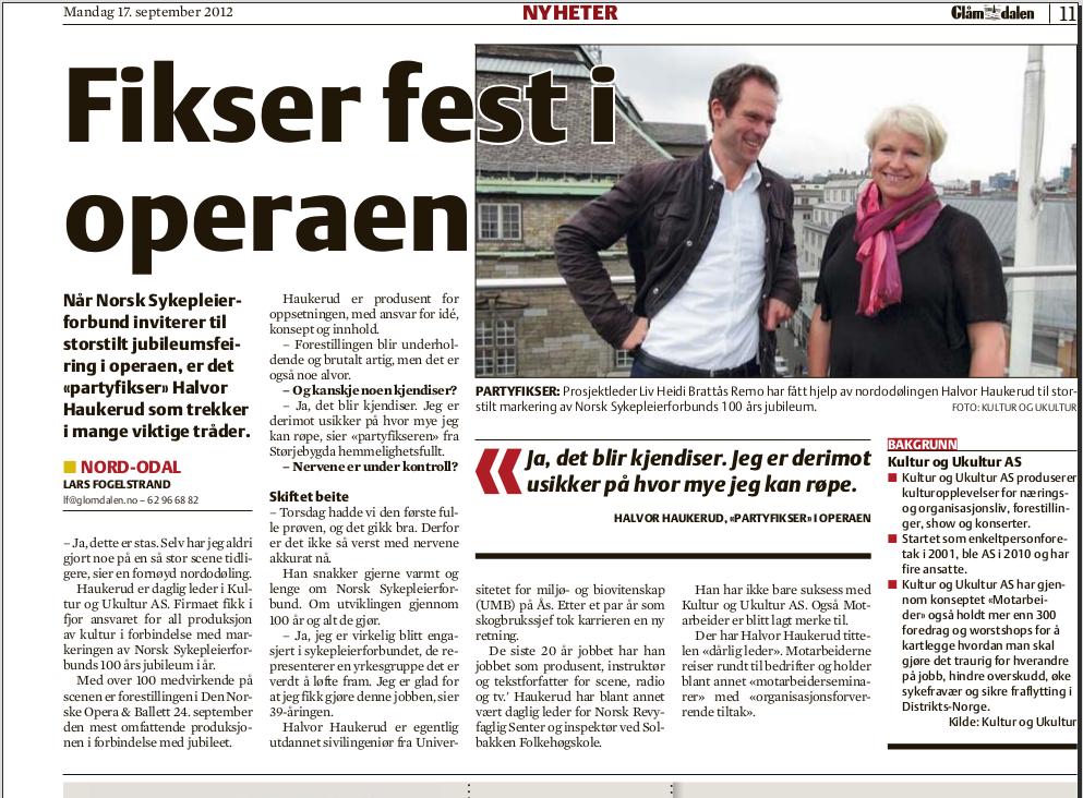 """Presseklipp: """"Fikser fest i operaen"""" - Faksimile fra Glåmdalen 17.september 2012"""