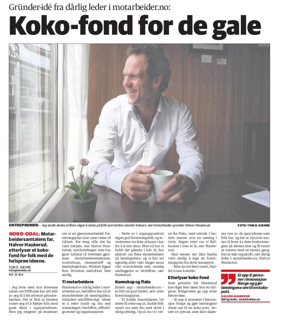 """Presseklipp: """"Koko-fond for de gale"""" - Faksimile fra Glåmdalen sommer 2014"""